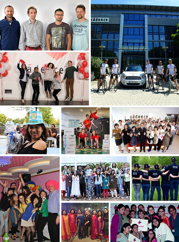 montage of Cadence employees doing fun activities
