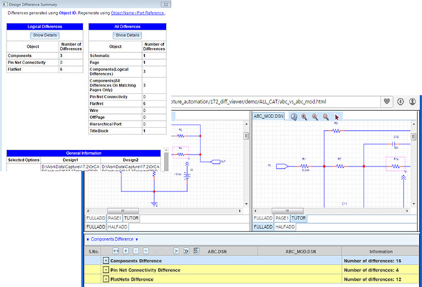 Image showing how to perform a diff between designs in the Cadence Allegro Design environment