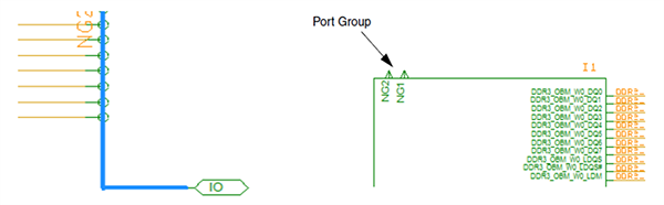 Image demonstrates how to define horizontal net groups in Cadence Allegro environment