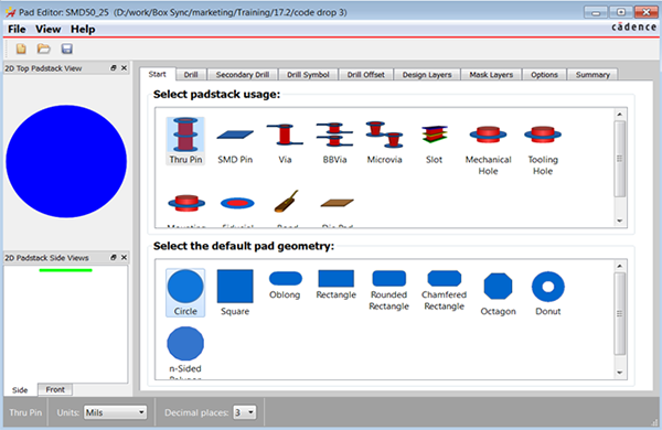 Image showing new Cadence Allegro Pad Stack Editor