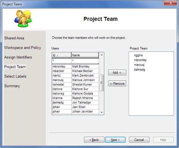 Image showing list of project team members for collaboration in Allegro EDM