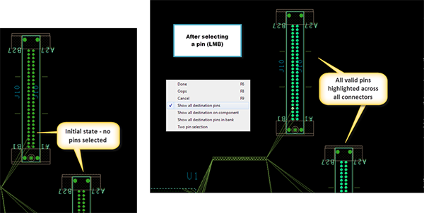 Image showing how to select a 1mb pin in the Cadence Allegro Design environment