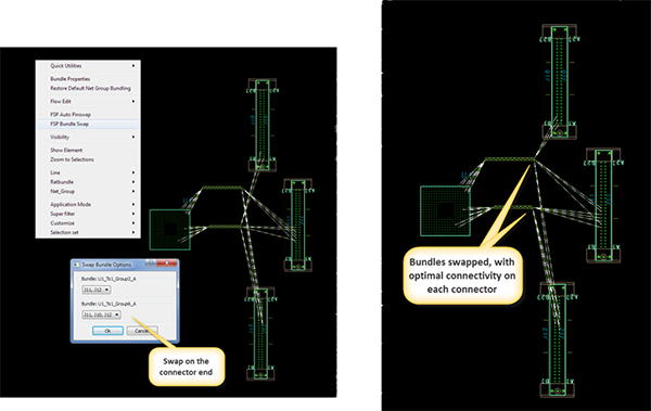 Additional image showing advanced snap bundle options in Cadence Allegro design environment