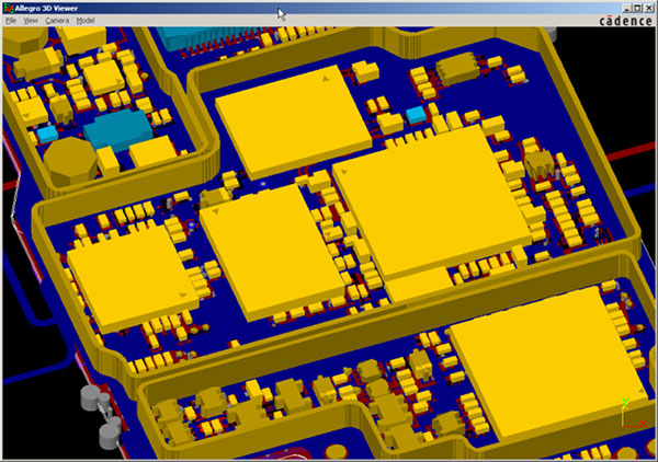 Image showing example of the type of 3D visualization you can perform with the ECAD-MCAD Co-Design Option