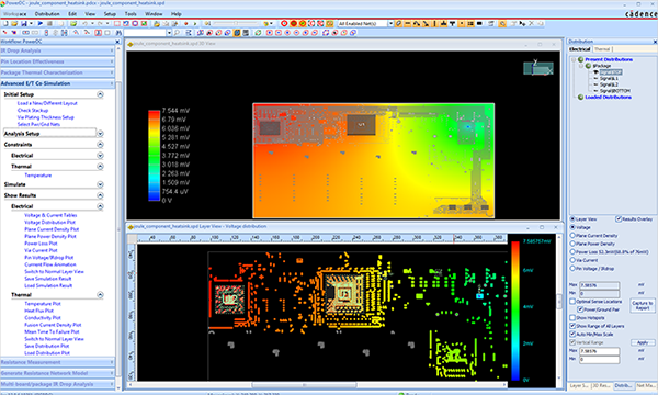 DC analysis showing different layers of PCB