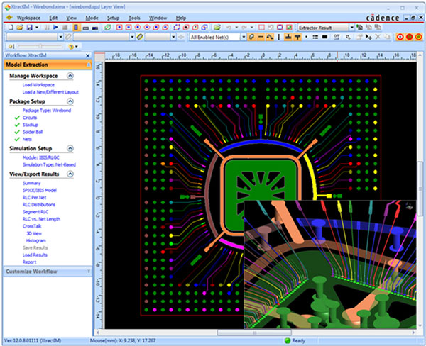 Screenshot showing Intuitive checklist workflow and 3D viewing guides extraction of wirebond package in Sigrity XtractIM