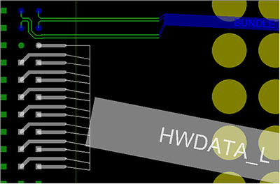 Figure 6. Here the IC package designer is performing detailed breakout routing in SiP Layout using the verified data bus pathway defined in OrbitIO Interconnect Designer