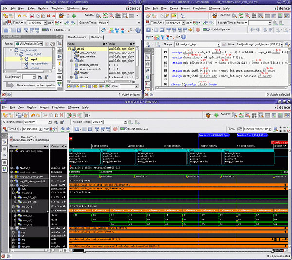 SimVision Debug waveform window synchronized with the Design Browser and Source Browser windows